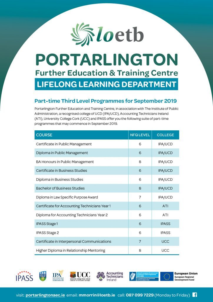 Lifelong Learning Courses 2019 at Portarlington Further Education and Training Centre