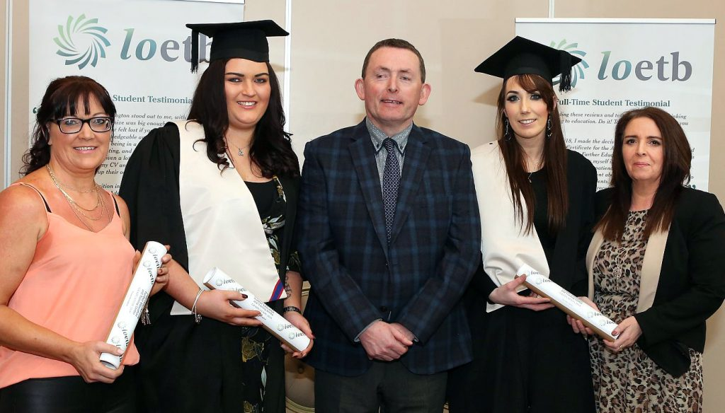 Portarlington Further Education Centre Awards - Gerard Griffin ( VTOS/Youthreach National Co-ordinator ) with Childcare QQI Level 5 Graduates . Photo: Michael Scully.