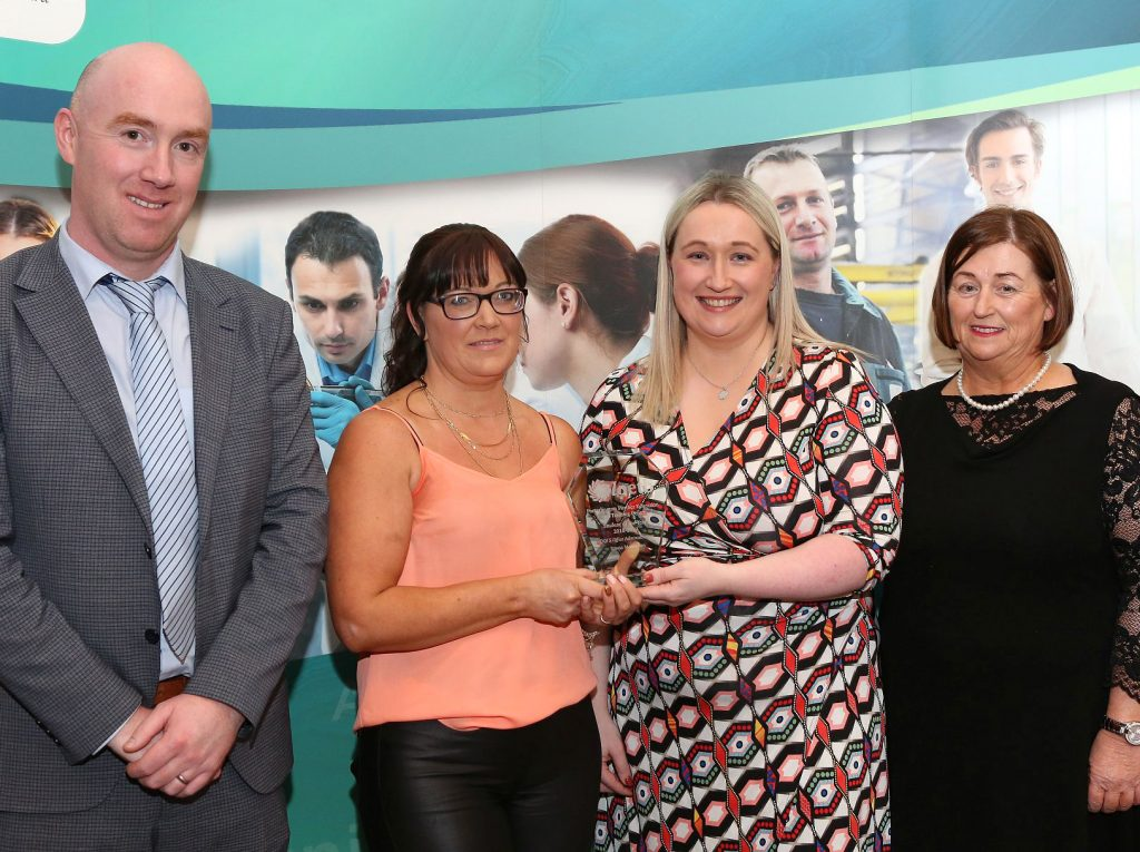 Portarlington Further Education Centre Awards - Colin Flaherty ( FET Manager ), Triona Monaghan - Student of the Year - Office Administration Award winner, Ann Marie Keane ( FET QA Manager ) and Margaret Morrin ( Centre Manager ). Photo: Michael Scully.