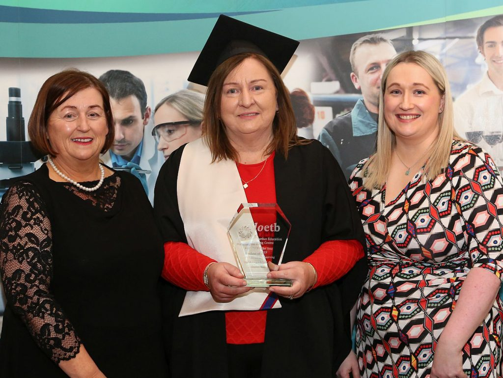 Portarlington Further Education Centre Awards - Margaret Morrin ( Centre Manager ) Shirley Kelly - Student of the Year - Return to Learning Award winner and Ann Marie Keane ( FET QA Manager ) . Photo: Michael Scully.