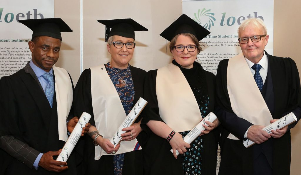 Portarlington Further Education Centre Awards - Healthcare Support QQI Level 5 Major Award Graduates - Stephen Odile, Linda Power, Helen Lanigan and John F. Conway. Photo: Michael Scully.