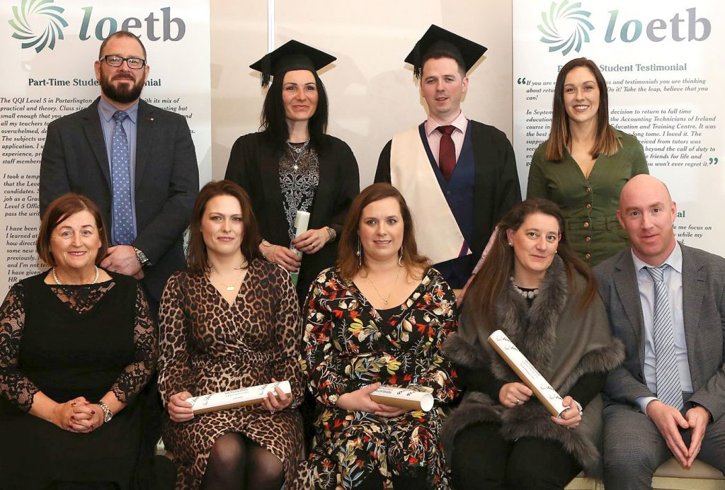 Portarlington Further Education Centre Awards - Group of Graduates who were awarded Diploma for Accounting Technicians - with Gary Monks ( ATI Business Manager ), Margaret Morrin ( Centre Manager ) and Colin Flaherty ( FET Manager ), Photo: Michael Scully.