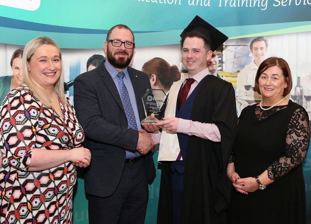Ann Marie Keane ( FET QA Manager ), Gary Monks ( ATI Business Development Manager ) presenting Student of the Year - Accounting Technicians Diploma ) to Conor Fullam and Margaret Morrin ( Centre Manager ) . Photo: Michael Scully.