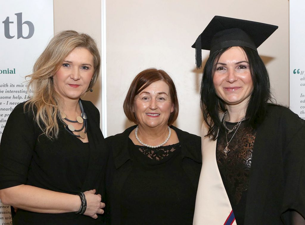 Portarlington Further Education Centre Awards - Bridget Noras , Margaret Morrin ( Centre Manager ) and Jolanta Setnicki . Photo: Michael Scully.