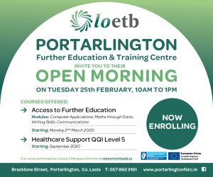 Open Day tomorrow, February 25, with courses on offer are 'Access to Further Education' and 'Healthcare Support'.