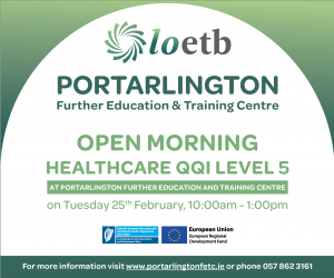 Open Morning for Healthcare QQI Level 5 programme at Portarlington Further Education and Training Centre
