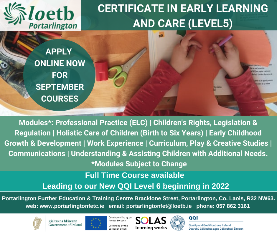 Certificate in Early Learning and Care (QQI Level 5)